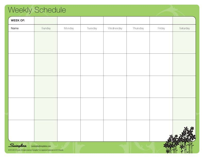 Weekly Schedule Template | cyberuse