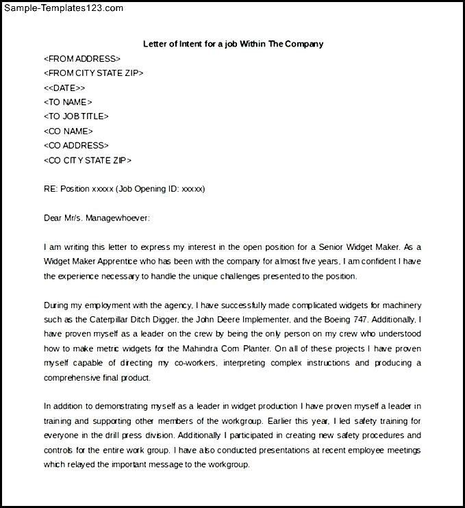 Sample Of Letter Of Intent For A Job Transfer Template Download ...