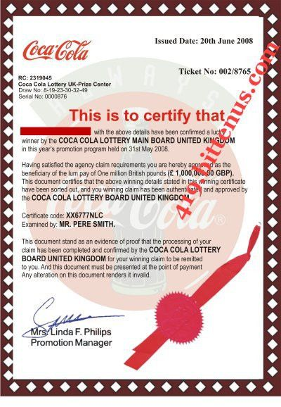 Coca Cola Lottery Winning Certificates (419 fraud)