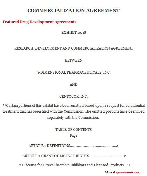 Commercialization Agreement, Sample Commercialization Agreement ...