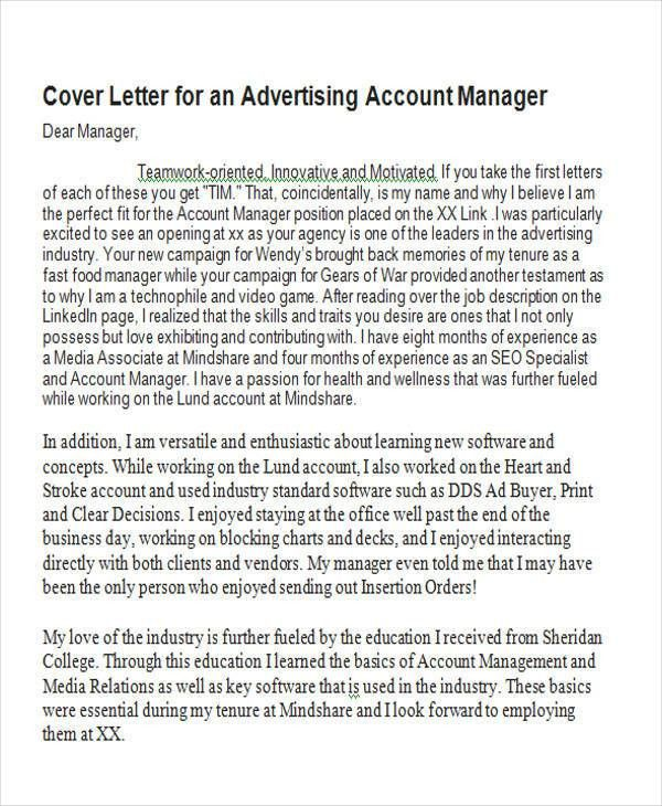 Account Manager Cover Letter - 8+ Examples in Word, PDF