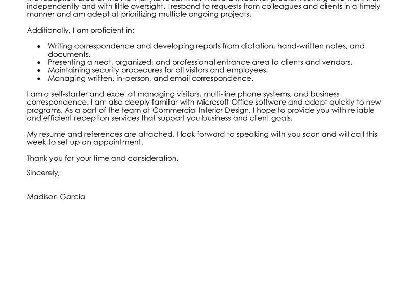 Stupendous Cover Letter Receptionist 3 Leading Professional ...