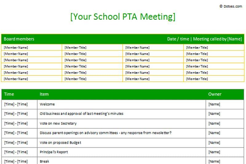 PTA Sample Meeting agenda template (Table Form) - Dotxes