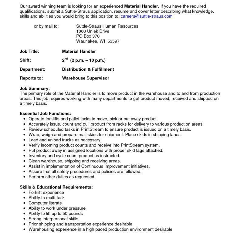 Stylish And Peaceful Material Handler Resume 10 The Best Material ...