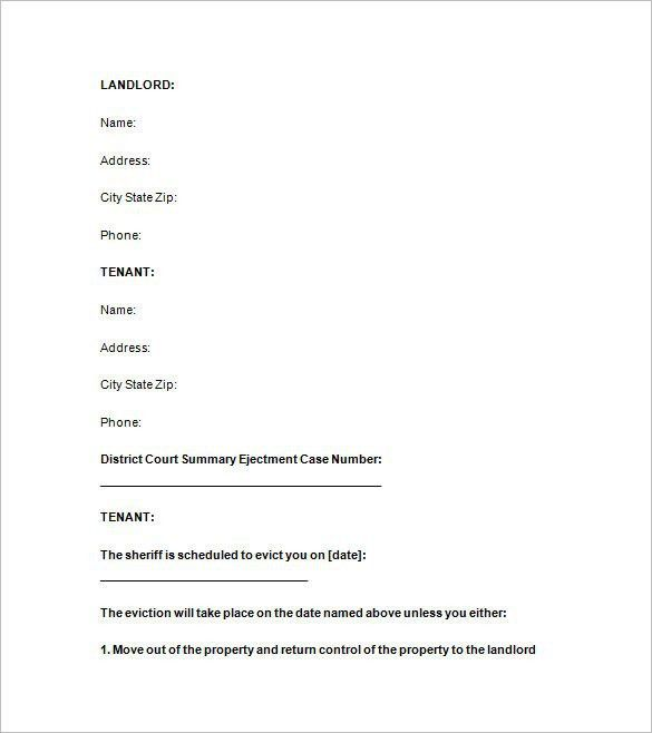 19+Sample Eviction Notice Templates - Free Samples, Examples ...