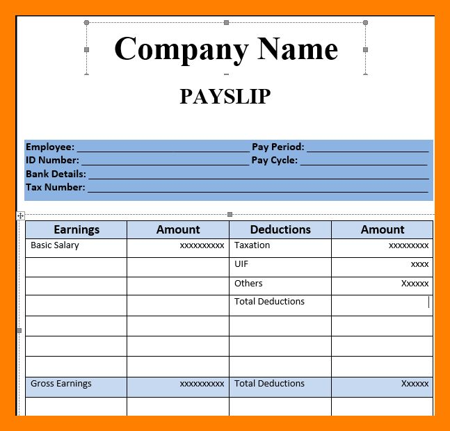 8+ empty payslip template | resume sections