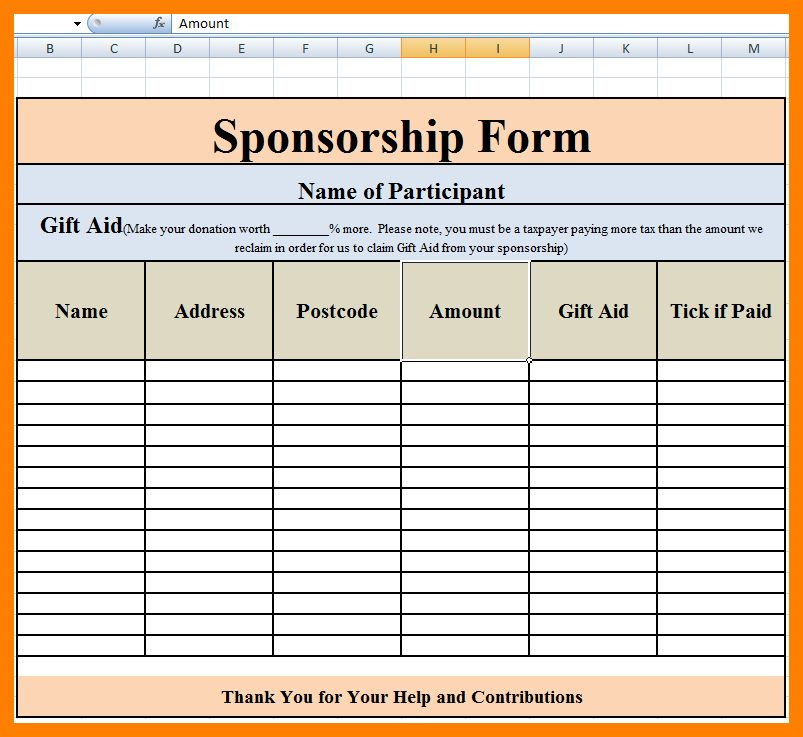 7+ sponsorship form template | intern resume