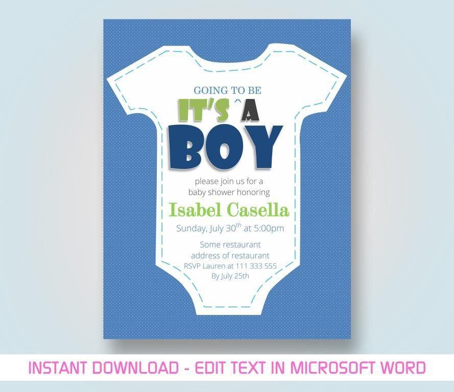 "Baby Boy/Girl Shower Card Invitation Template – ""Casella"""
