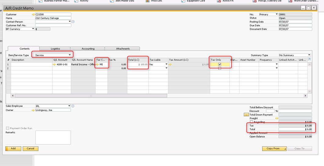 How To Issue a Sales Tax Only Credit Memo in SAP Business One ...
