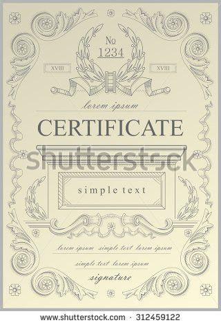 Certificate Example Certificate Vector Stock Vector 312459122 ...