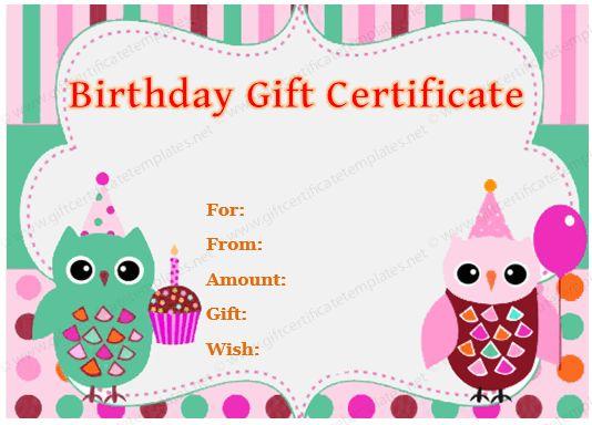 Gift Certificate (Owl Design)