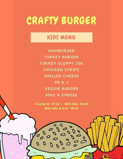 Kids Menu Templates. little chef kids menu 04 10 kids menu menu ...