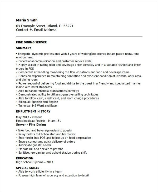 Jackson ResumeWaitress Resume. Fine Dining Waitress Resume Sample ...