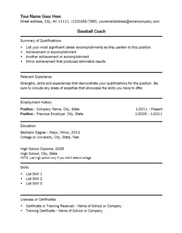 Baseball Coach Resume | Blank Flyer Template