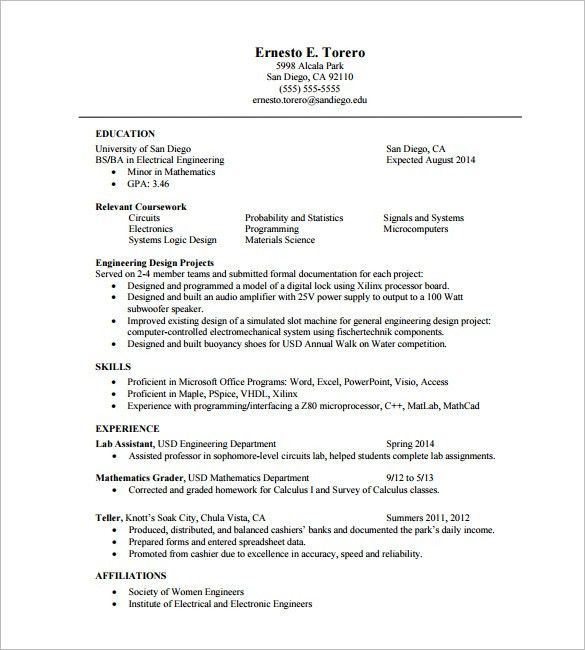 One Page Resume Template – 11+ Free Word, Excel, PDF Format ...