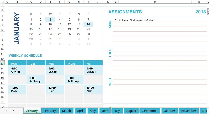 Free Student weekly schedule template | Templates at ...