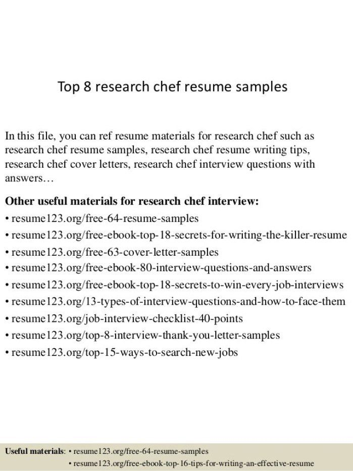 Research Chef Cover Letter