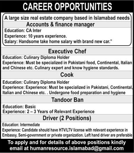 Accounts And Finance Manager, Executive Chef, Cook, Driver Jobs 2017