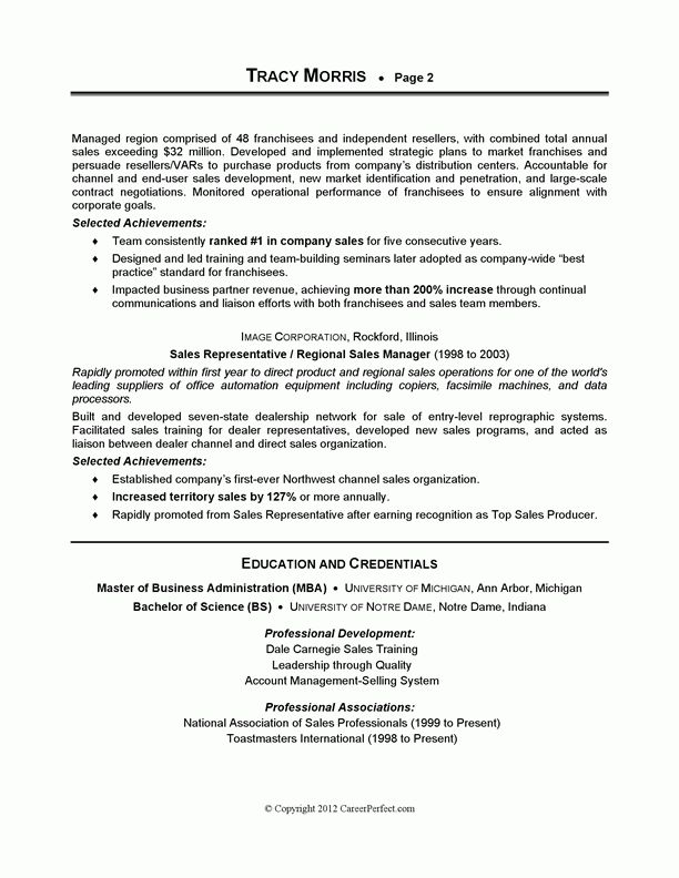 CareerPerfect® - Sales Management Sample Resume