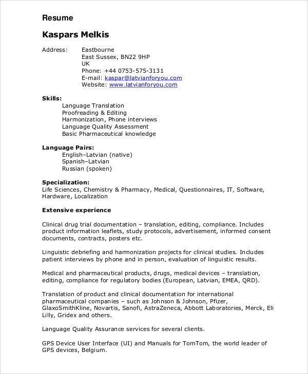 linguist resumes