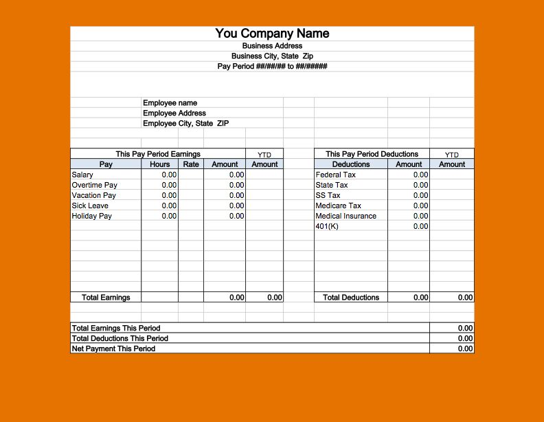 11+ payslip template | Job Resumes Word