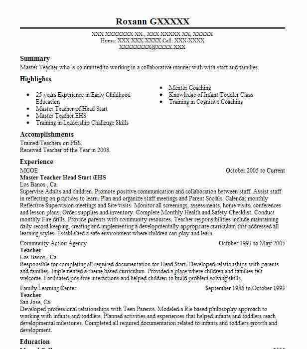 Best Master Teacher Resume Example | LiveCareer
