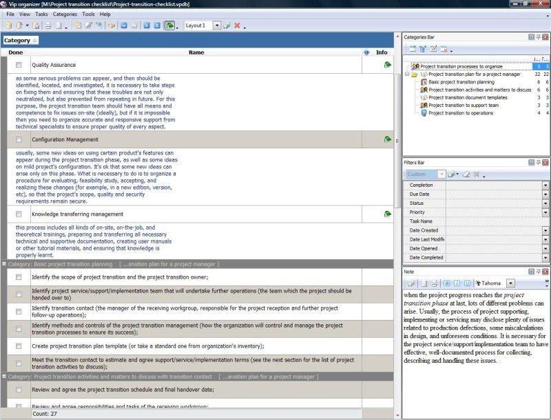 Project transition checklist - To Do List, Organizer, Checklist ...