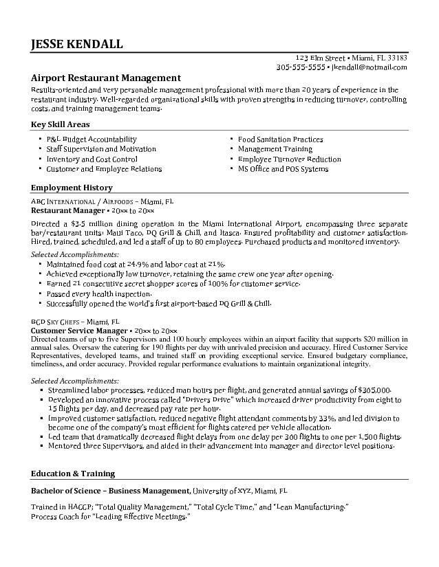 Free Airport Restaurant Manager Resume Example