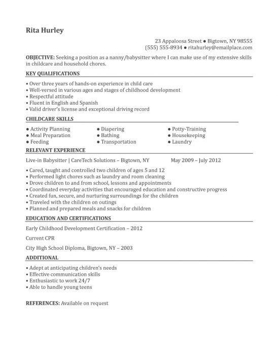how to make a good nanny resume full time nanny resume sample my ...