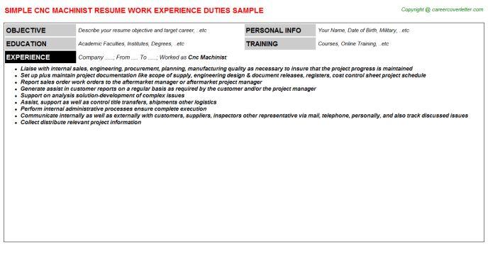 Cnc Operator Machinist Resume. cnc lathe operator resume examples ...