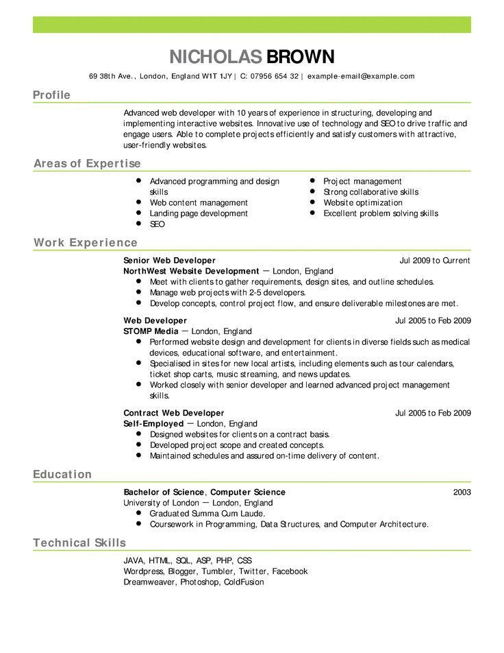 Guide To Create Resume. An Example And Explanation Of An ...