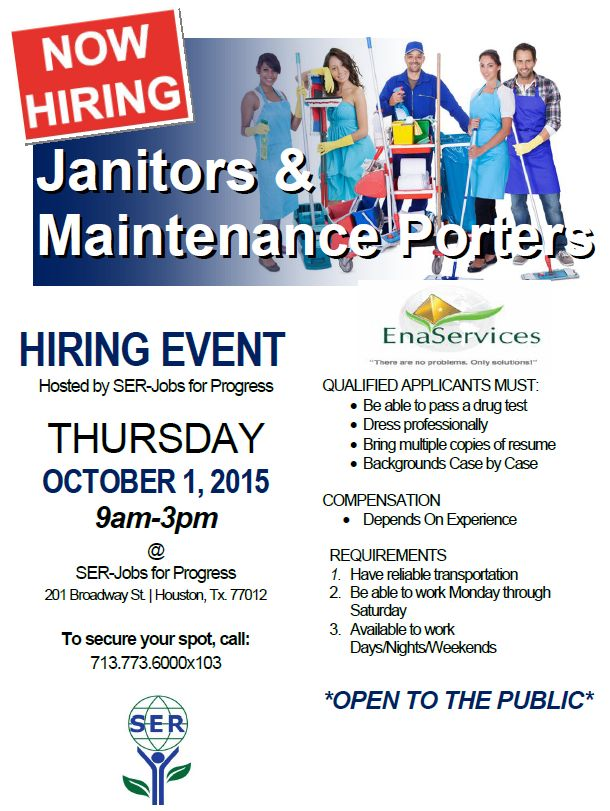 Hiring Event: Janitors and Maintenance Porters   SER Jobs for ...