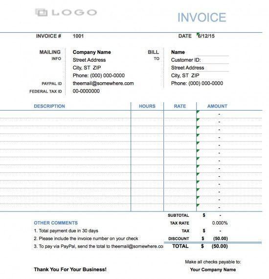 Free Hourly Invoice Template | invoice | Pinterest | Invoice ...