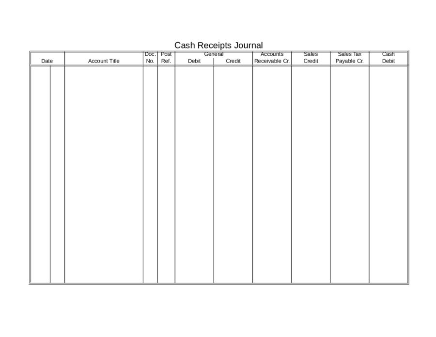 Cash Receipts Journal Template - Free Printable Cash Receipts ...