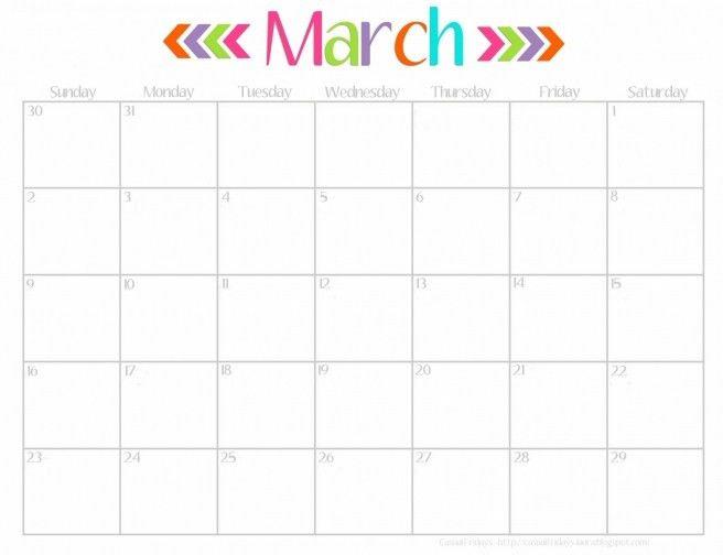 Cute Calendar Template. Cute And Crafty 2016 Printable Calendar 20 ...