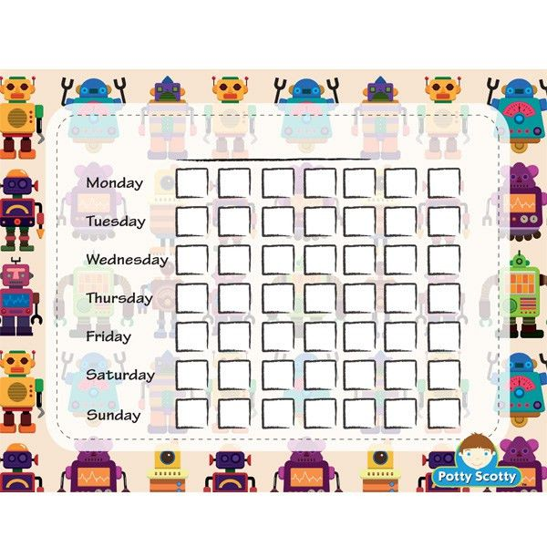 Free Robots Potty Calendar | Potty Scotty