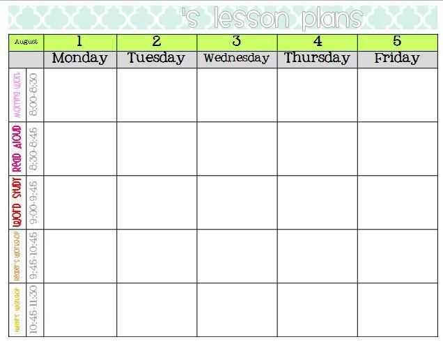 weekly lesson plan template elementary | CDA Binder & Portfolio ...