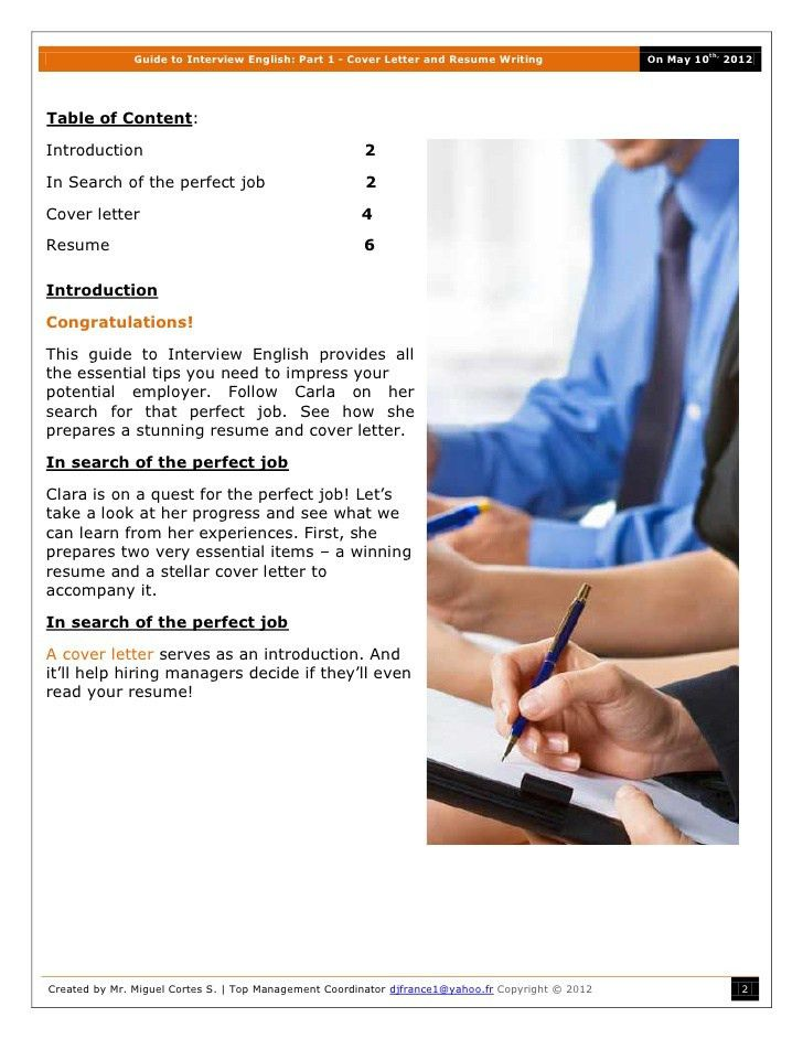 Guide To Interview English Part 1 Cover Letter And Resume Writing 2012