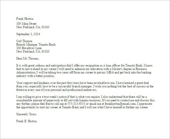 Employee Resignation Letter Template – 8+ Free Word, Excel, PDF ...