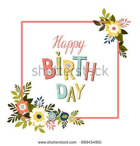 Happy Birthday Card Template Colorful Lettering Stock Illustration ...