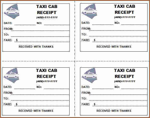 4 blank taxi receipt | Printable Receipt