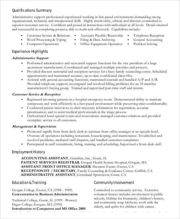 business administration resume sample