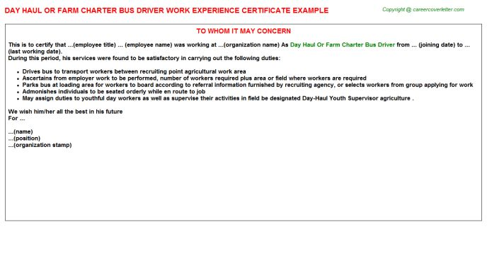 School Bus Driver Work Experience Letters