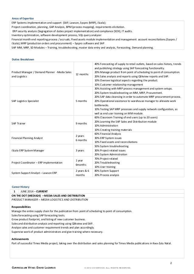Demand Planner Resume Sample - Duevia.com