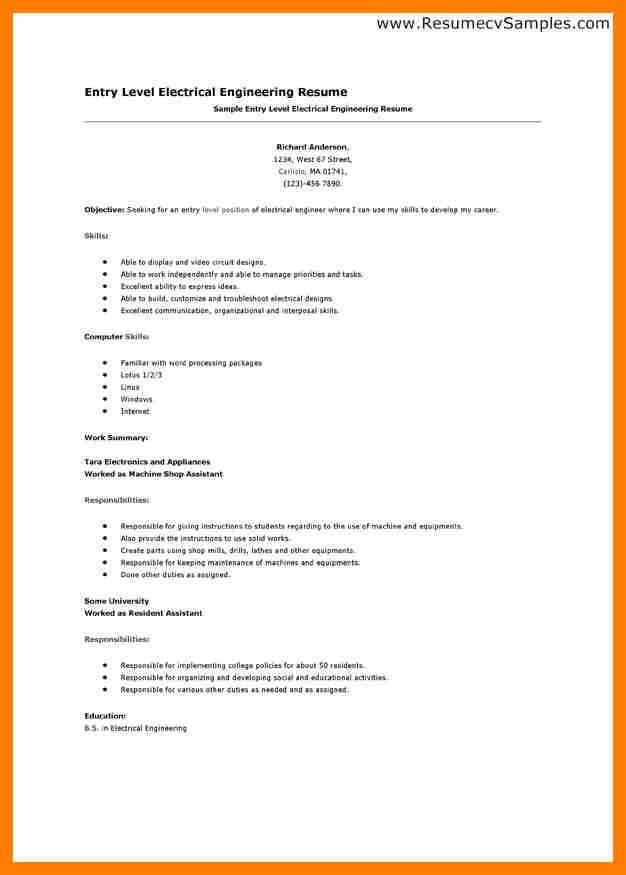 Sample Resume For Mechanical Engineer Entry Level | Professional ...