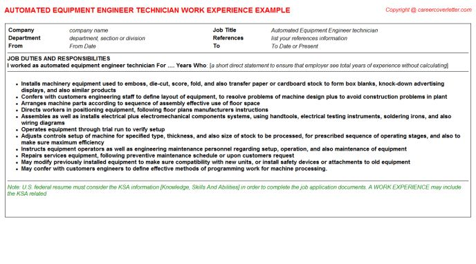 download semiconductor equipment engineer sample resume - Semiconductor Equipment Engineer Sample Resume