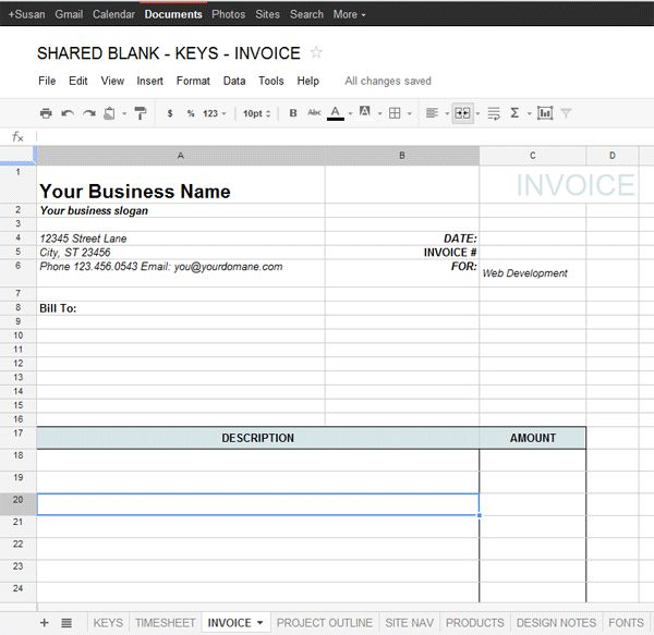 Google Docs Invoice Template | printable invoice template