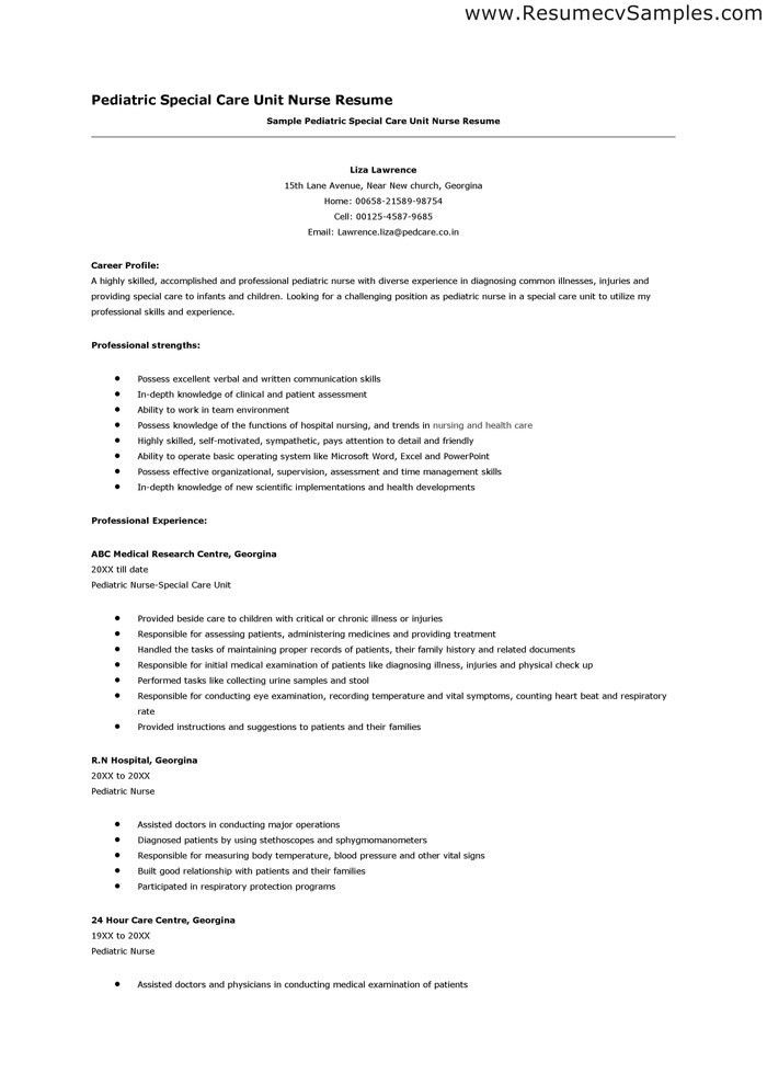 Pediatric Nurse Resume | haadyaooverbayresort.com
