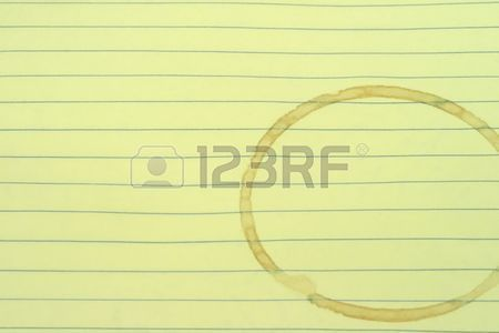 A Blank Lined Page With A Coffee Stain Ring Stock Photo, Picture ...