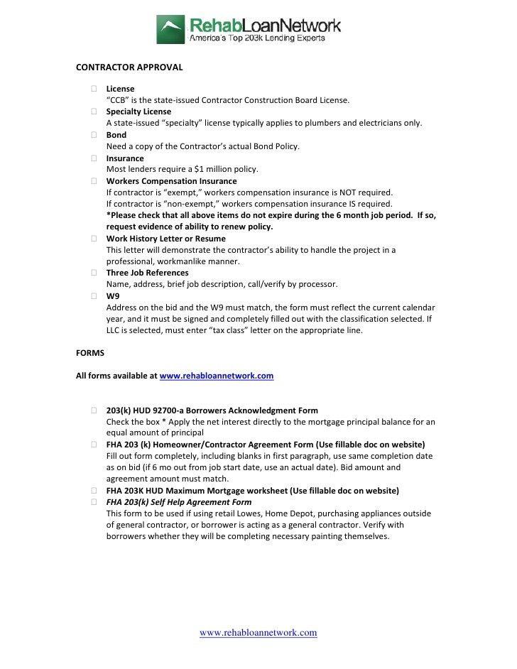 contractor bid forms - Template